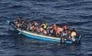 Wooden migrant boat in the Mediterean Sea