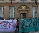 Aktion gegen das EU-Grenzregime vor bayerischer Landesvertretung in Berlin
