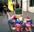 Schultaschen Flashmob anlässlich des 'Asylgipfels' in Wien - Amnesty International