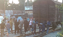 People try to break through the border.