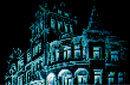 Ausschnitt aus dem Plakat: Villa in schwarz und blau