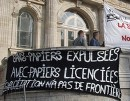 Protest in front of court at Boulogne-sur-mer, Calais, 12th July 2011