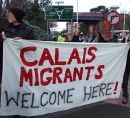 Protesters in Folkestone: Calais Migrants Welcome Here!