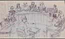 Die sechs Angeklagten vor Gericht