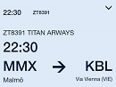 Flight information: MMX -> KBL