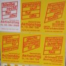 Plakate mit Forderungen für den Aktionstag