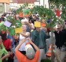 Demonstrant_innen behängen den Baum