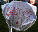Welcome - Banner im Protestcamp im Sigmund Freud Park, November 2012