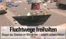Fluchwege freihalten. Stoppt das Sterben im Mittelmeer - schafft sicher Häfen! Graswurzelrevolution-Cover 431/2018