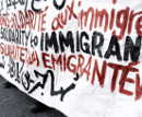 Solidarity to Immigrants - banner at ralley in Athen, 07. Jul 2009